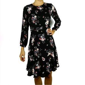 Loft wildflower floral flounce dress